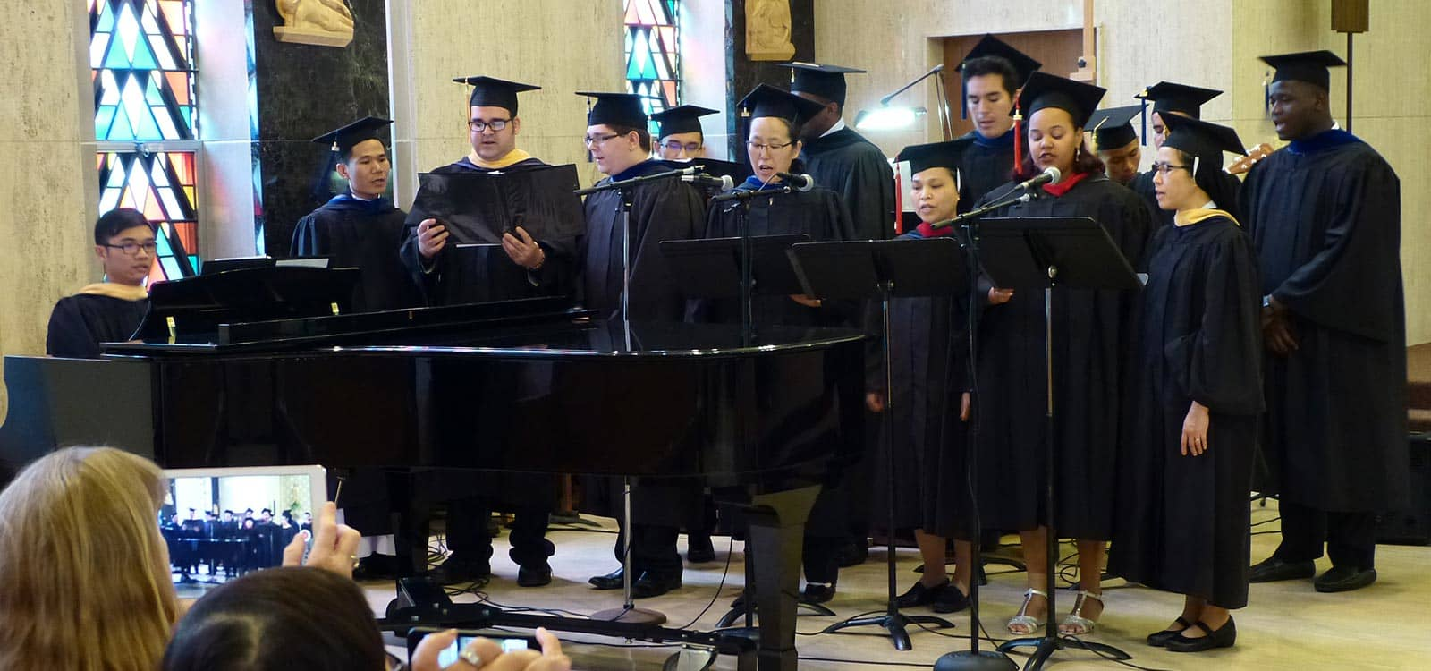 Graduating students singing in choir