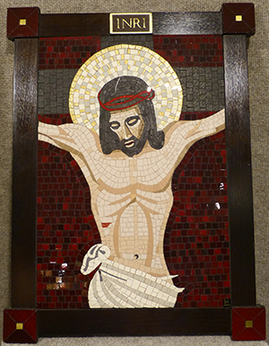 Mosaic of the cricified Lord created by Dr. Richard Mani and gifted to Divine Word College